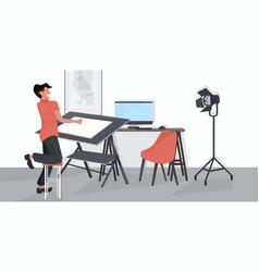 male designer using adjustable board man planning vector image