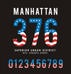 manhattan set number textured flag usa vector image