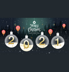 merry christmas happy new year 2021 vector image