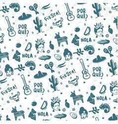 mexican symbols pattern and background design vector image