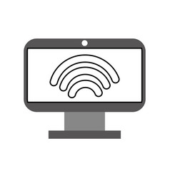 monitor computer with wifi signsl vector image