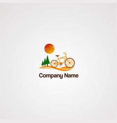 Mountain bike logo with wave tree pine and sun vector