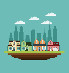 Neighborhood houses private urban style design vector
