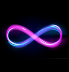 Neon light blue and violet infinity symbol vector