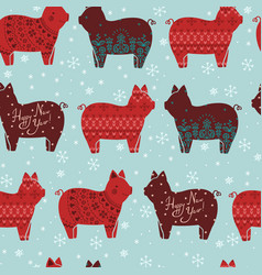 New year pattern with decorative stylized pigs vector