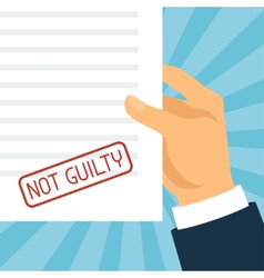 Not guilty concept hand holding paper with stamp vector