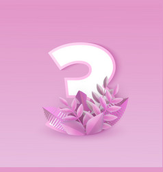 number three pink elegant vector image