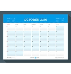 October 2016 Monthly Calendar Planner for 2016 vector