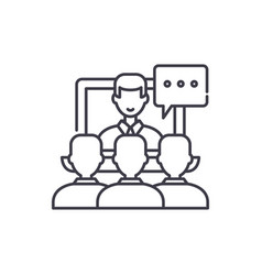 Online lecture line icon concept online lecture vector