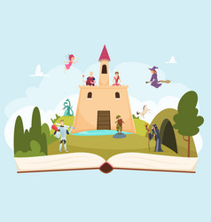 Open fairy tale book fantasy background with vector