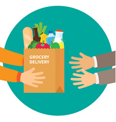 paper bag full products grocery delivery vector image