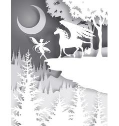 Pegasus fairytale character vector