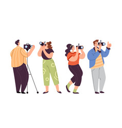 people man woman operator journalist paparazzi vector image