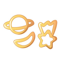 Planet star pasta icon cartoon style vector