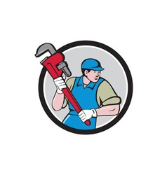 Plumber Running Monkey Wrench Circle Cartoon vector image