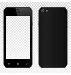 Realistic black smartphone with transparent screen vector