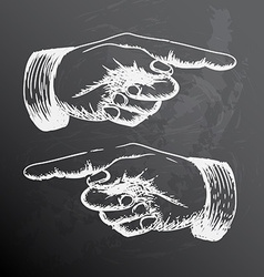 Retro Vintage pointing hand drawing vector