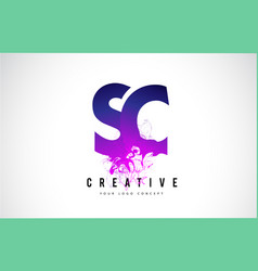 Sc s c purple letter logo design with liquid vector