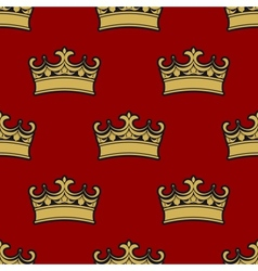 Seamless pattern of golden crowns vector