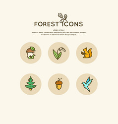 set linear forest icons and vector image