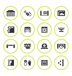 Set round icons of automatic gates vector