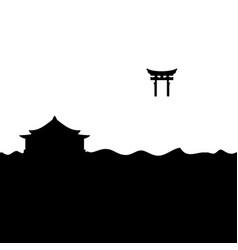Shinto shrine and torii gate vector