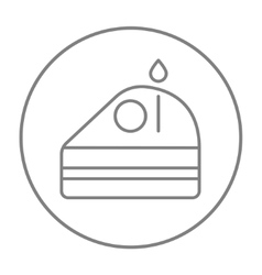 Slice of cake with candle line icon vector image vector image