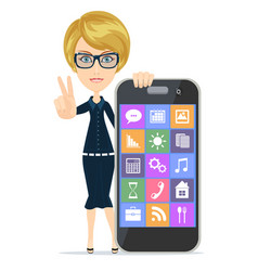 smiling woman is pointing on smartphone standing vector image