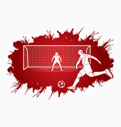 soccer player kicking ball with goalkeeper vector image