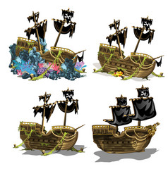 sunken pirate ship overgrown coral polyps vector image