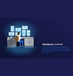Technical support administrator man character vector