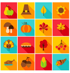 Thanksgiving day colorful icons vector