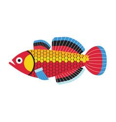 Tropical funny aquarium fish icon in flat vector