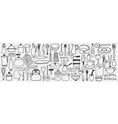 Various dishes and kitchen utensil doodle set vector