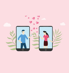 virtual online love relationship with couple text vector image
