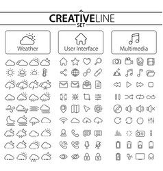 Weather user interface and multimedia icons vector