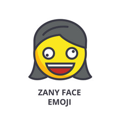 zany face emoji line icon sign vector image