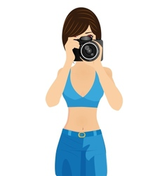 girl with camera vector image vector image