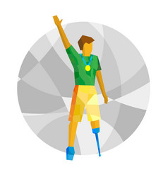 physically disabled winner with medal vector image