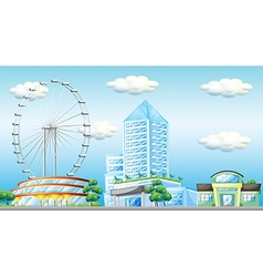 Scene with ferris wheel in the city vector image