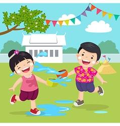 Thai kids splashing water in songkran festival at vector