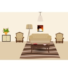 The room furnished with furniture Modern Flat vector image vector image