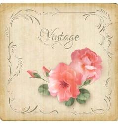 Vintage retro flowers roses postcard border frame vector image vector image