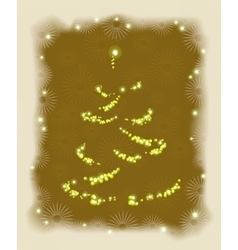 Abstract golden Christmas tree in frame EPS10 vector image