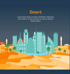 cartoon arab city on a landscape background card vector image vector image