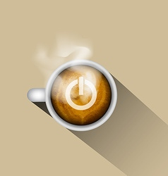 Coffee with power on icon vector image