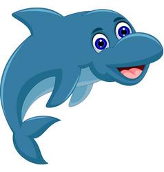 cute cartoon dolphin jumping vector image vector image