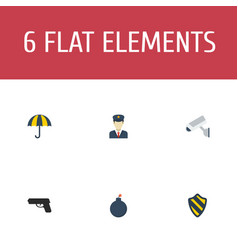 flat icons policeman explosive parasol and other vector image vector image