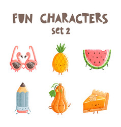 fun characters set 2 vector image vector image