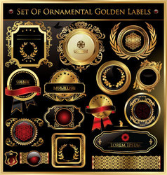 set of ornamental golden labels vector image vector image